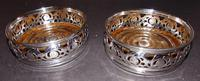Pair Victorian Silver Plated Coasters