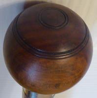 Lignum Vitae Bowling Ball Walking Stick 1920 Solid Silver Collar Ebony Shaft (3 of 11)