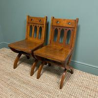 Quality Pair of Oak Hall Chairs by Shoolbred (2 of 7)