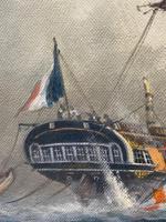 "Seascape Oil Painting Naval Frigate Ships Napoleonic War Sea ""Battle Trafalgar"" (20 of 25)"