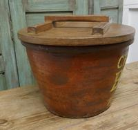 Victorian Earthenware Cream Crock with Pine Lid (5 of 6)