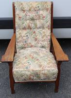 1930s Oak Arts and Craft style Armchair with Floral Upholstery (2 of 3)