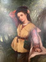 Antique Re-Raphaelite oil painting portrait of aristocratic young girl (1 of 2) (5 of 10)