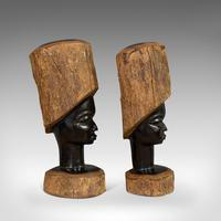 Pair Of, Antique Carved Heads, African, Ebony, Decorative Statue, Victorian (4 of 11)