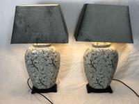 Pair Chinese Cantonese Porcelain Table Lamps With Shades Lighting Christmas Gift (40 of 51)