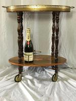 Italian Vintage 20th Century Marquetry Oval Champagne Drinks Server Trolley (7 of 14)