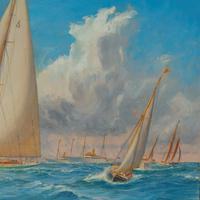A rare painting of 1930 America's Cup racing off Newport, signed 'Harold Wyllie' (6 of 12)