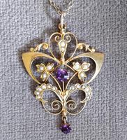Victorian Art Nouveau 9ct Gold Pendant (8 of 9)