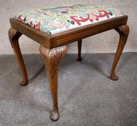 Carved Walnut Cabriole Leg Stool in the Queen Anne Style (2 of 8)