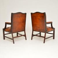 Pair of Antique Leather & Mahogany Gainsborough Armchairs (4 of 8)