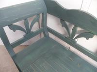 A Large 4 Seater Emerald Green Antique/Old Pine Kitchen/Hall Box Settle / Bench (6 of 10)