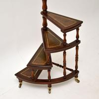 Antique Mahogany & Leather Spiral Library Steps (4 of 10)