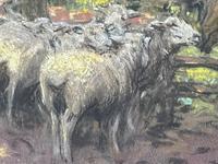 "Edwardian Pastel Painting ""The Sheepfold"" By John Robert Keitley Duff RI RA Rse (12 of 34)"