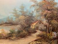 Large Fabulous 20th Century Vintage British Autumn Country Landscape Oil Painting (9 of 12)