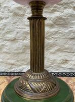 Tall 19thc Art-nouveau Primrose Yellow & Pink Twin Burning Duplex Table Oil Lamp (10 of 12)
