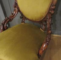 Carved Walnut Armchair New Upholstery fully restored (8 of 9)