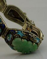 Superb Chinese Solid Silver Gilt Enamel & Jade Bracelet c.1920 Antique (12 of 12)