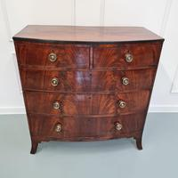 Flame Mahogany Antique Bowfront Chest c.1830 (2 of 8)