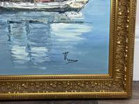 Dutch Oil Painting Fishing Harbour Channel Coast Signed Bernhard Laarhoven (13 of 34)