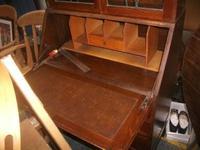 Oak Lead Glazed Bureau Bookcase (3 of 4)