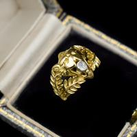 Antique Diamond Lions Head and Laurel Leaf 18ct 18K Yellow Gold Ring (9 of 9)