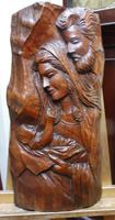 Oak carving Madonna and child an joseph 26 inch height (Free shipping to Mainland England)