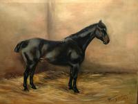 Oil Painting Portrait Study Black Horse in Stable Signed Alice Mary Burton RBA '1893-1968' (3 of 26)