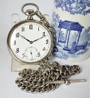 1920s Nickel Pocket Watch & Chain