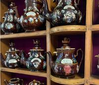 Collection of 24 Measham Bargeware Teapots & Jugs on 19th Century Dresser (3 of 4)