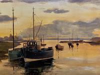'the Estuary At Sundown' A Large Superb Original Vintage Seascape Oil Painting (8 of 12)