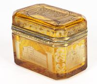 Bohemian Antique Engraved Metal Mounted Overlay Yellow Glass Sugar Casket 19th Century (15 of 19)