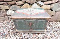 Scandinavian / Swedish 'Folk Art' Baroque Style Blue-Green Original Painted Table Box Late 18th Century (10 of 35)