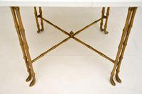 Vintage Brass & White Quartz Side / Coffee Table (5 of 6)