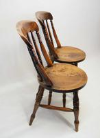 Pair of Good Quality Victorian Windsor Spindle Back Kitchen Chairs in Beech & Elm (8 of 10)