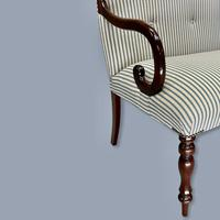 Buttoned Ticking Stripe Sofa & Footstool (3 of 11)