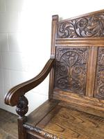 Victorian Carved Oak Settle or Hall Bench (14 of 16)