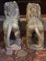 Pair Fine Early 20th Century Art Deco Italian Marble Male & Female Rampant Lions Sculptures (6 of 11)