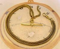 Victorian Pocket Watch Chain 1890s Antique Brass Double Albert With T Bar (4 of 11)