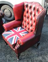 1960s Chesterfield Red Leather Wing Back Armchair with Union Jack on Seat (3 of 3)