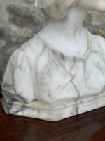 Alabaster Bust of Young Girl Wearing a Bonnet (9 of 25)