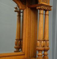 Edwardian Light Oak Carved Mirror-back Sideboard (12 of 17)