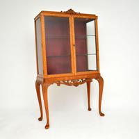 Queen Anne Style Burr Walnut Display Cabinet c.1930