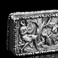 "Rare Antique Georgian Solid Silver Vinaigrette Figural Scene with Animals & Harp ""Orpheus Enchanting Animals""- Joseph Taylor 1827 (12 of 18)"