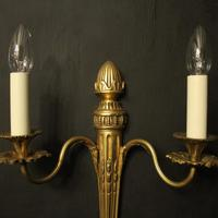 French Set of 3 Twin Arm Gilded Antique Wall Lights (3 of 10)