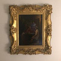 Late 18th Century Flemish Oil on Canvas in a Double Gilt Frame