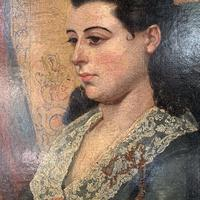 Antique Victorian oil painting portrait Girl in Lace Collar attributed to Dicksee (7 of 9)