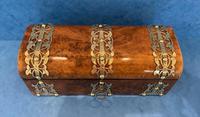 Victorian Brassbound Burr Walnut Glove Box (4 of 9)