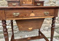 Antique Rosewood Inlaid Writing Desk (9 of 19)