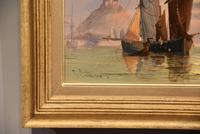 """Oil Painting Pair by George Dodgson Callow """"A Calm, Mounts Bay"""" and """"On the South Coast"""" (5 of 9)"""