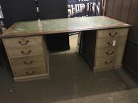 G. W. R Large Pine & Oak Leather Topped Desk (10 of 17)